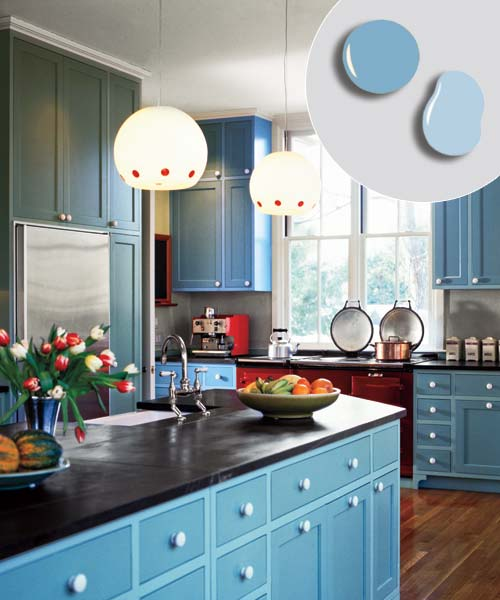 blue painted cabinet boxes and darker blue painted cabinet doors and