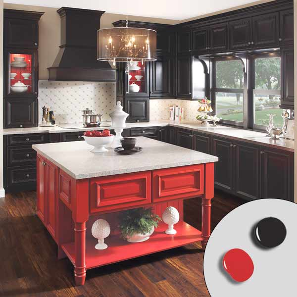 Black Kitchen Cabinets Paint Color: 5. Bright Red + Midnight Black