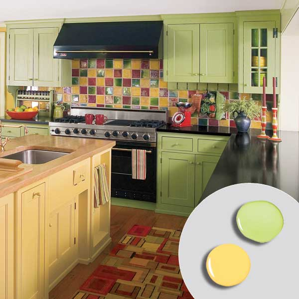 kitchen with bold green painted kitchen cabinets, yellow painted