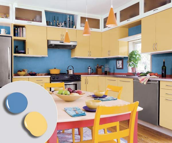 Kitchen Golden Yellow Painted Cabinets And Blue Walls With