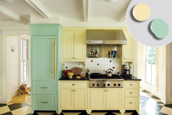 Kitchen cabinets pale yellow for Suggested paint colors for kitchen