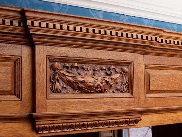 after kitchen remodel detail of oak woodwork
