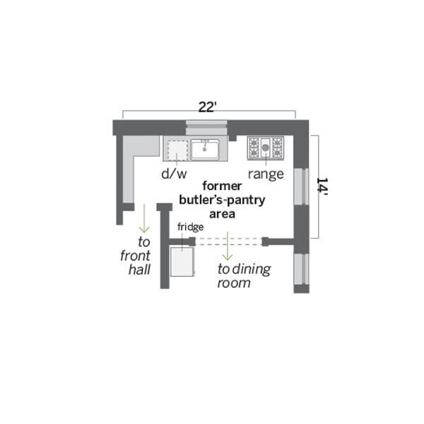 floor plan of kitchen before remodel