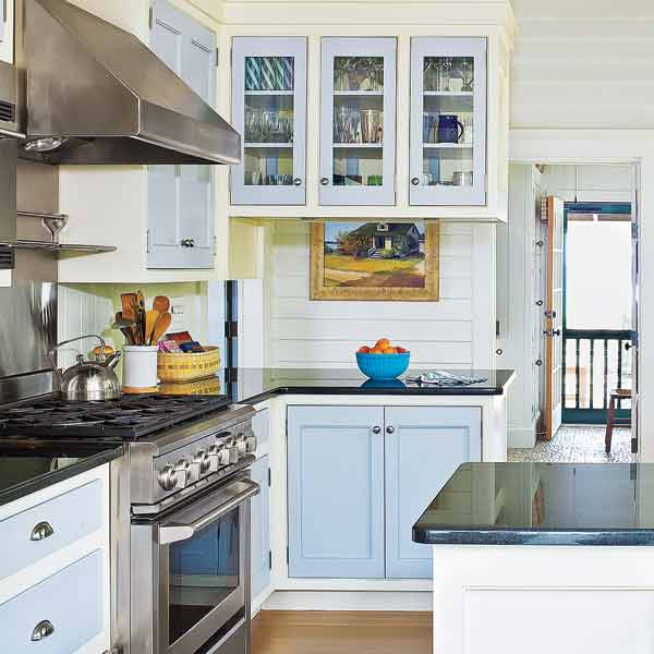 cottage style kitchen with light blue accents