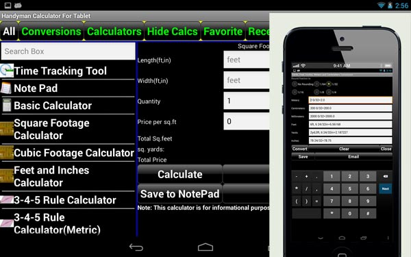 Tools App: Handyman Calculator from the TOH Top 100 Best New Home Products 2013
