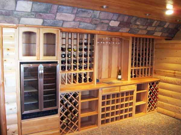 reader remodel contest home bars after remodel wine cellar with hickory wine racks, tiled floor of river rock
