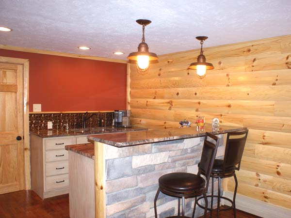 Basement Redo With A Log Cabin Feel After Best Bar