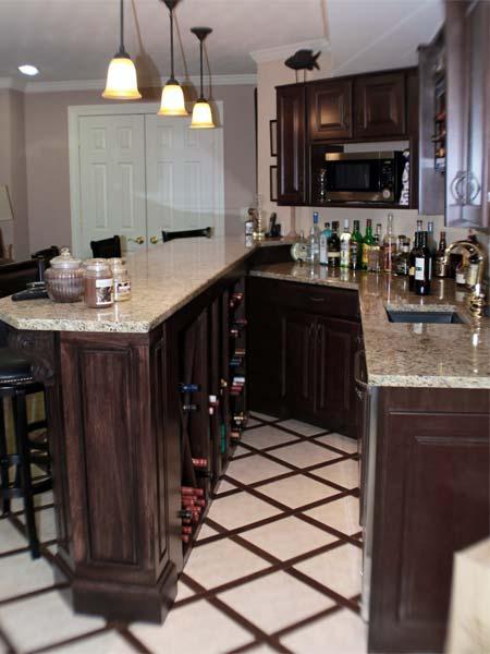 reader remodel contest home bars after remodel basement, wine storage, microwave, porcelain tiles