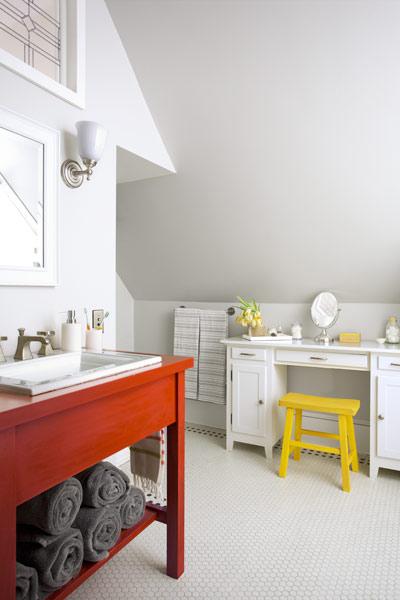 2013 reader remodel contest master suite winner in attic after bathroom with tile floor, large vanity, makeup station