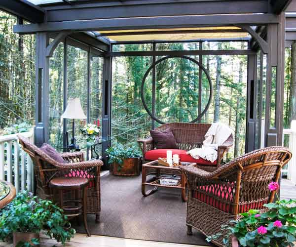 2013 reader remodel contest yard winner after deck and glassed-in sitting area with salvaged materials