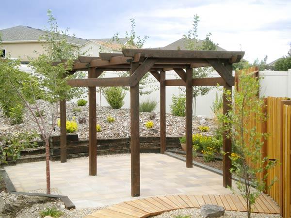 Dan Herman's trapezoidal pergola in a back patio in Herriman, UT