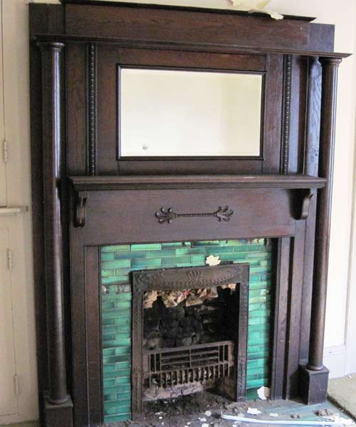save this old house social circle georgia greek revival cottage fireplace with emerald tile fireplace surround
