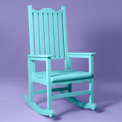 outdoor porch rockers recycled plastic lumber, aqua, by cr plastic products