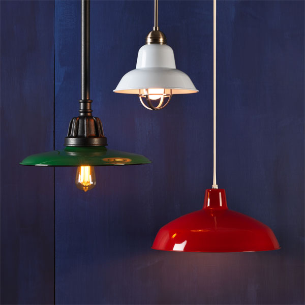 Three examples of Factory-style pendant lights