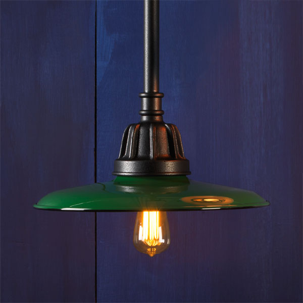 Flat Brimmed example of Factory-style pendant lights