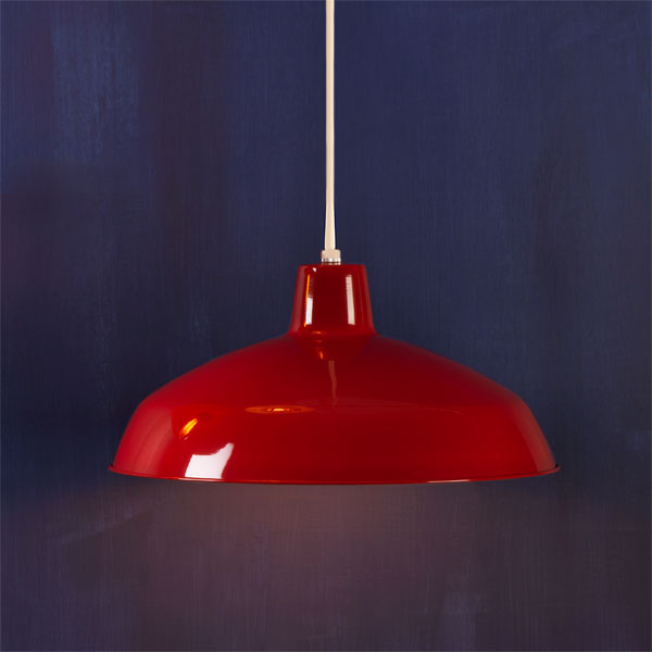 Red Classic example of Factory-style pendant lights