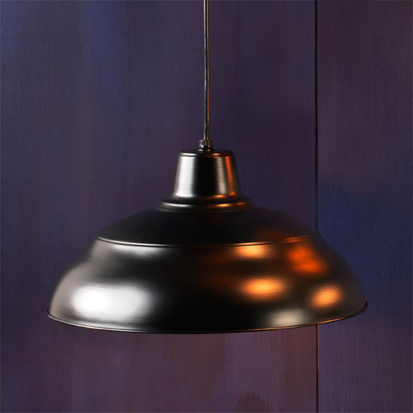 Ridged Bowl example of Factory-style pendant lights
