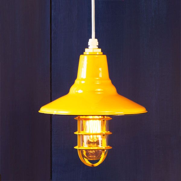 Bold Yellow example of Factory-style pendant lights