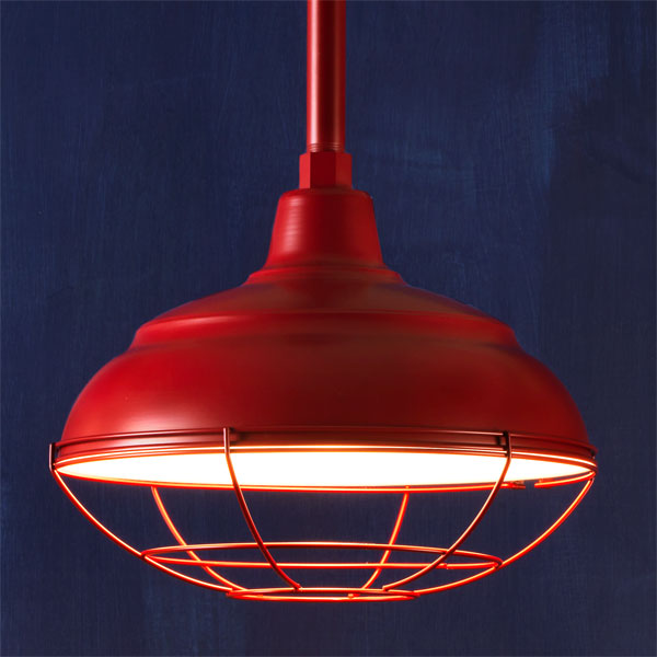 Barn Red example of Factory-style pendant lights