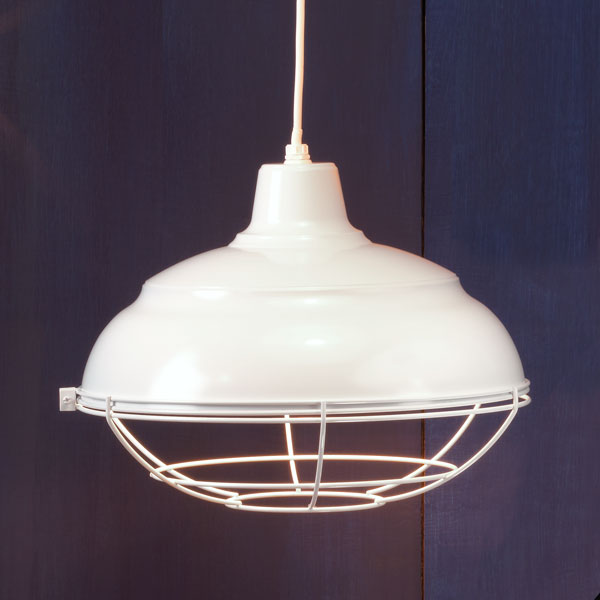 Fresh White example of Factory-style pendant lights