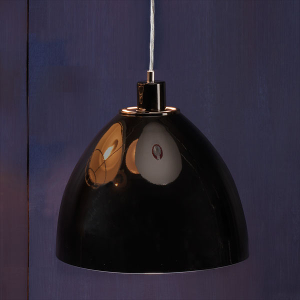 Glossy Black example of Factory-style pendant lights