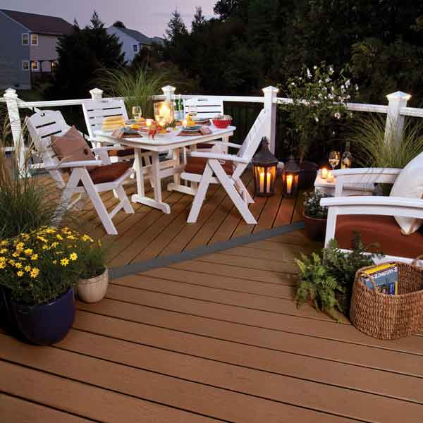 Trex decking at night with lighting