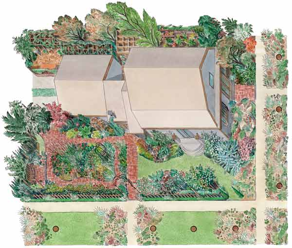 secret garden on urban plot illustration of layout