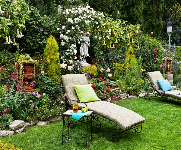 garden planning romantic gardens lawn with lounge chairs, vignettes, borders