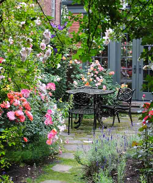 cottage garden with roses, patio with patio dining set and fence covered in roses after reader remodel contest 2013