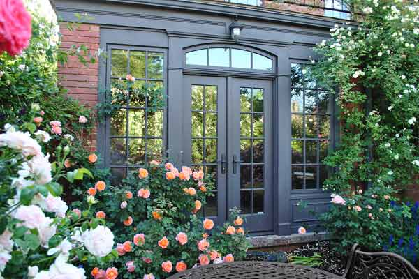 French Doors View | From Blah Lawn to Backyard Rose Garden ...