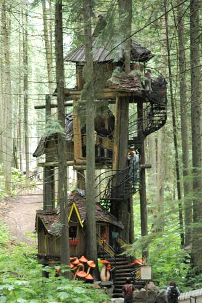 three-tier tree house in enchanted forest in canada