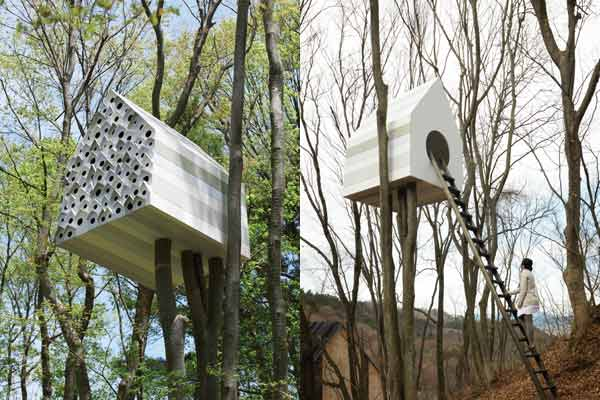 nendo bird and tree house in japan