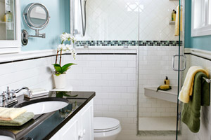 small white bath with mosaic tile shower details, small bathroom design ideas