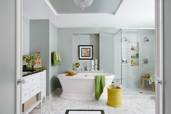 bathroom with air bubble soaking tub, ornate tile floor, silver leaf ceiling niche, pampering master bath before and after