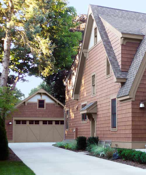 after garage of english style cottage exterior, curb appeal before and after