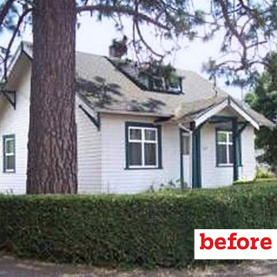 before of bungalow exterior, curb appeal before and after