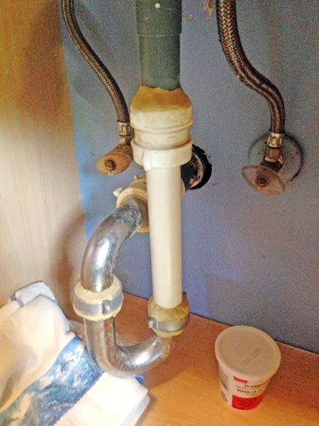 plumber's putty used to fit different sized pipes as part of This Old House's Home Inspection Nightmares 30