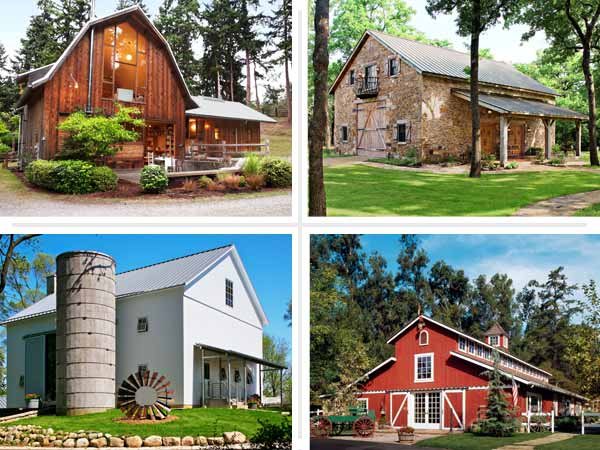composite of four remodeled barn exteriors