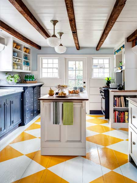 white and light blue kitchen with bright yellow and white check pattern painted floor, march 2014 color of the month pantone freesia
