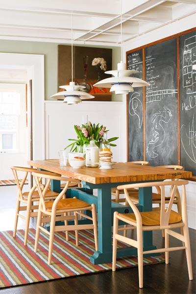 Traditional-meets-modern Dining Space with trestle table, wishbone chairs and other modern-style furnishings