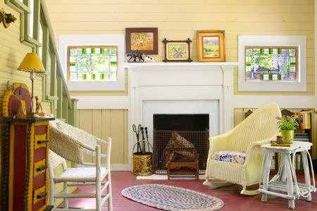 an upgraded living room done cottage-style