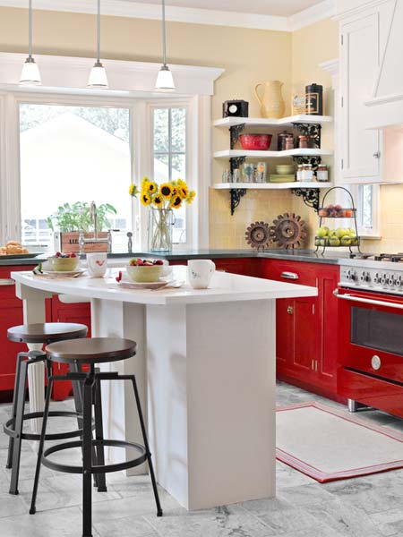 two stools at a kitchen island in this open-plan, family-friendly small kitchen