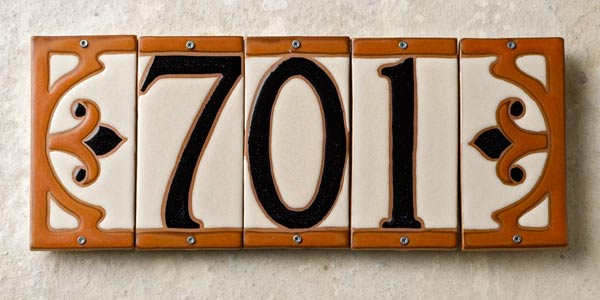 stoneware tiles with framed look from Craftsman Tiles by Feature Tile, ceramic house numbers shopping