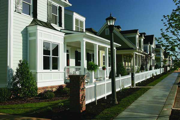 row of houses with fiber-cement siding, sponsored james hardie fiber-cement siding gallery