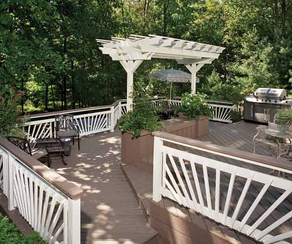 deck with white railings and matching pergola, flood deck stain webvertorial