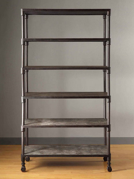 shelving unit an oversize open bookcase provides utilitarian storage