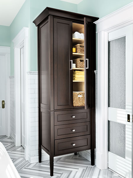 Tall Linen Cabinet A Master Bath Long On Luxury This