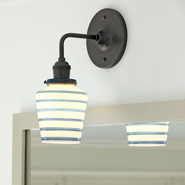 Striped Schoolhouse Style Lights Picturesque Family Bath