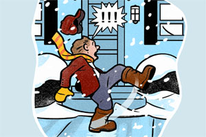 illustration of a person slipping and falling on ice outside a front door