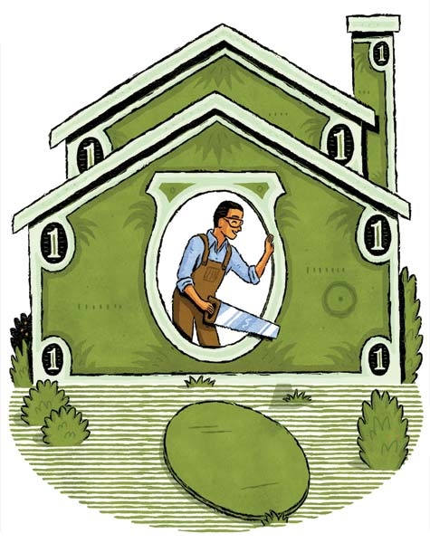 illustration of a man in overalls, holding a saw, leaning out an oval shaped window on the wall of a house where the walls are drawings of dollars